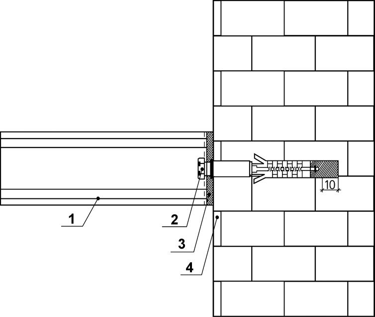 крепление швеллера к кирпичной стене анкерами